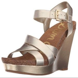 Sam Edelman Nelson Gold Leather Wedges